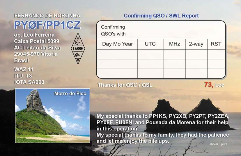 Остров Фернанду ди Норонья PY0F/PP1CZ QSL Карточка