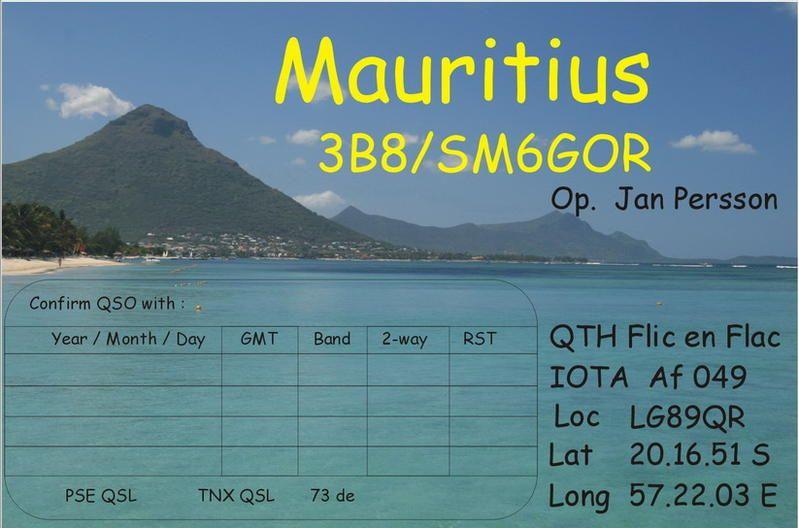 Остров Маврикий 3B8/SM6GOR