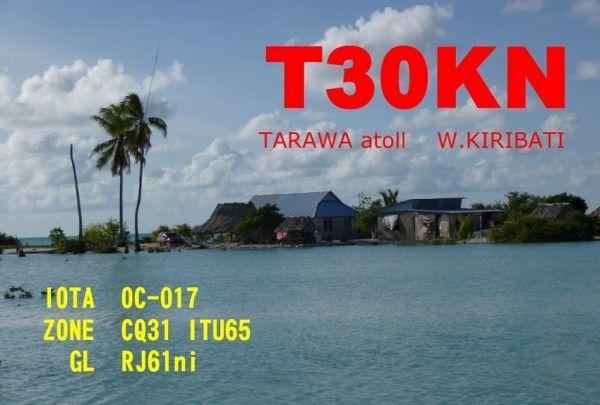 Atoll Tarawa Kiribati T30KN QSL