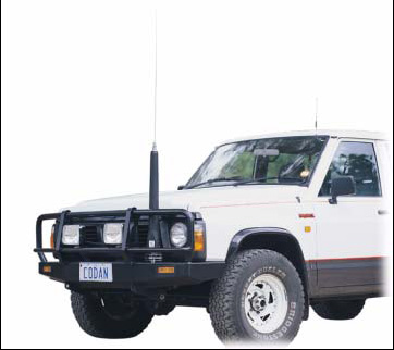 HF Mobile Antenna mounted at bumper height