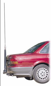 Codan Hf Mobile Antenna mounted at rear bumper height