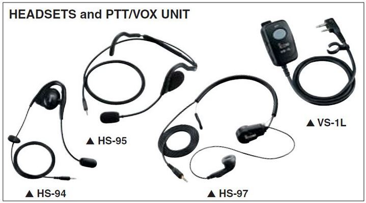 IC-F16/S - Headsets and PTT/VOX Unit