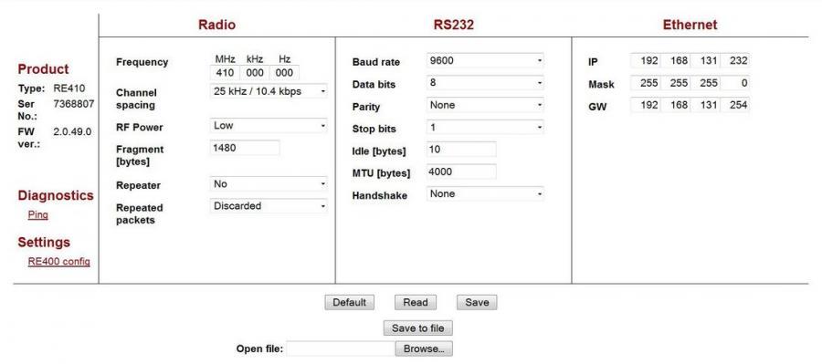 RE400 Transparent Radio Modem Settings